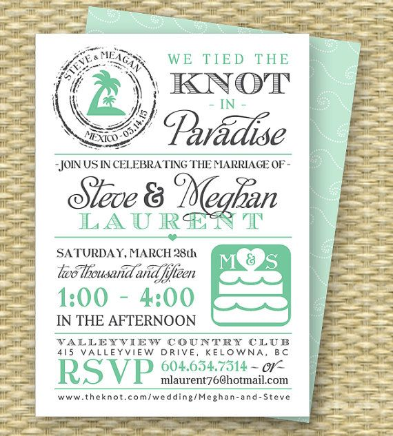 Elegant Destination Wedding Invitation Post Destination Wedding Reception Invitation  Tied The Knot In Paradise Beach Wedding