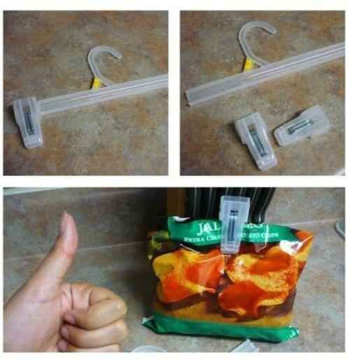 Save the clips from cheap hangers to close chip bags.