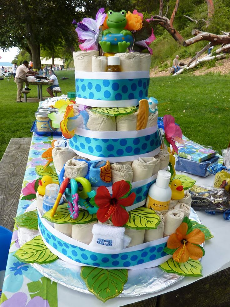 "luau baby shower ideas | front of ""cake"""