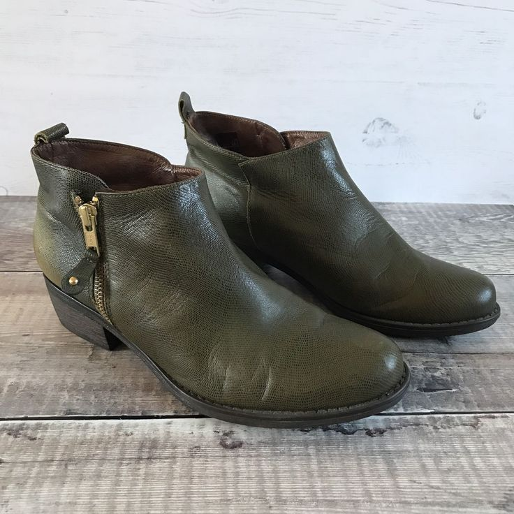 GAIMO Olive Green Snake Skin Print Leather Ankle Boots UK 4 EUR 37 Blogger Work #Gaimo #AnkleBoots