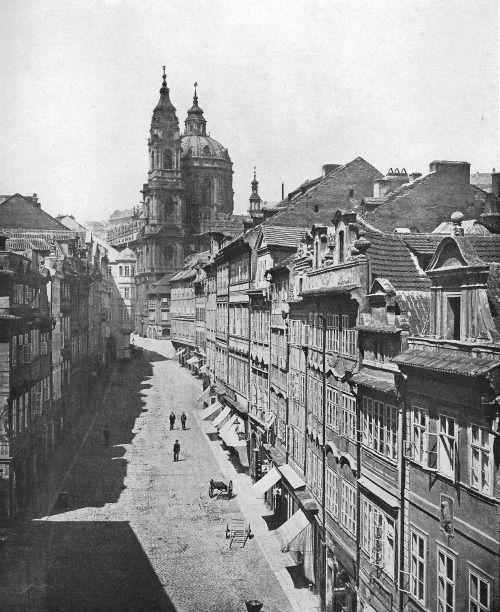 František Fridrich, Saint Nicholas Church & Mostecka Street, 1870