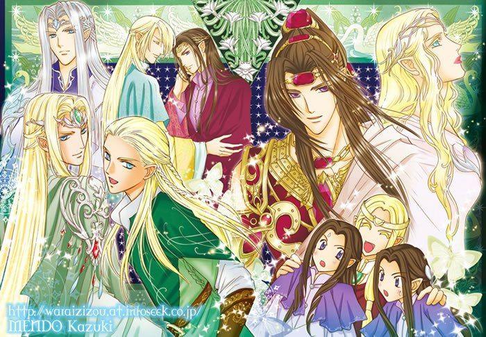 In a clockwise direction from the top left corner; King Thingol, Glorfindel, Erestor, Feanor, Galadriel, Elros, Finwe, Elrond, Legolas and Thranduil.
