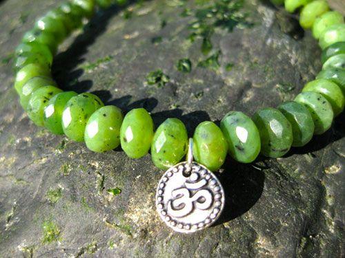 Healing Crystal Jewelry - Women's Power Om Bracelet ~Jade~