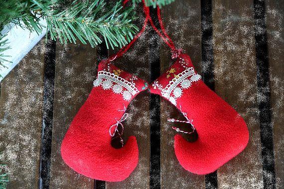 Christmas tree hanging fabric ornaments socks. Xmas red soft