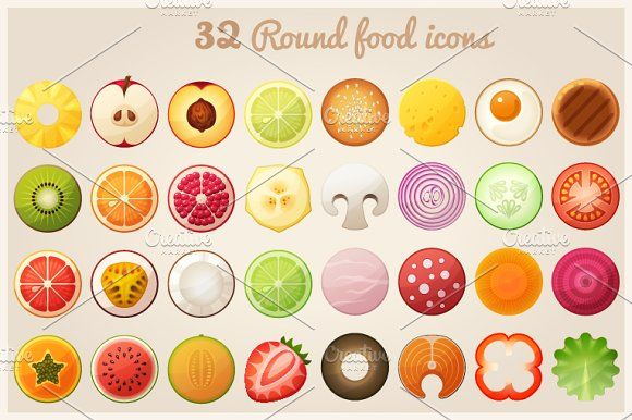 Fruit halves and round food icons - Icons