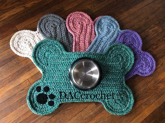 Perro Hueso Pata Impresion Lugar Mat Tamano Grande Mascota Etsy In 2020 Crochet Dog Crochet Patterns Hand Crochet