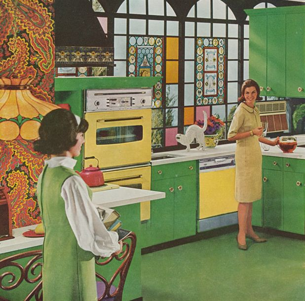 amazing late 60's kitchen...love the wallpaper and apple green cabinets!