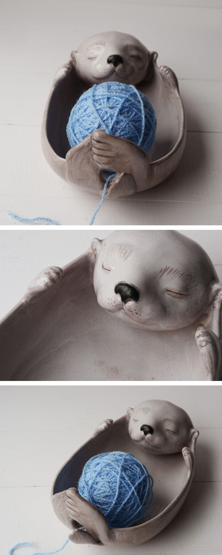 Witzige Garnschale in Form eines liegenden Otter als Deko für den Hobbyraum, Strick Utensilien / knitting accessory: yarn bowl in shape of an otter made by Bordo ceramics via DaWanda.com