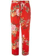 Womens Red Oriental Palazzo Trousers- Red