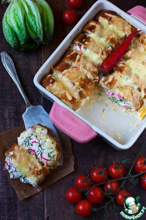 Пудинг из багета на скорую руку с крабовыми палочками (или чем-то другим) и творожным сыром