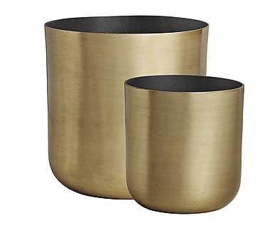 Set di 2 contenitori in alluminio oro Cleo I, max 15x15 cm