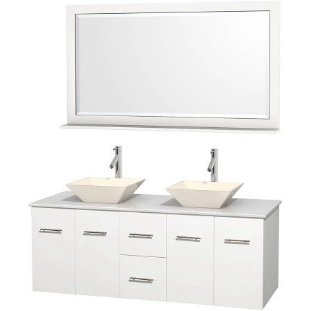 Wyndham Collection Centra 60 Inch Double Bathroom Vanity Matte White White Man Made Stone