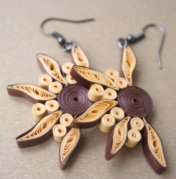 Quilled Earrings Ancient Sun. Quilled jewelry by JewellingMeSoftly, €18.00