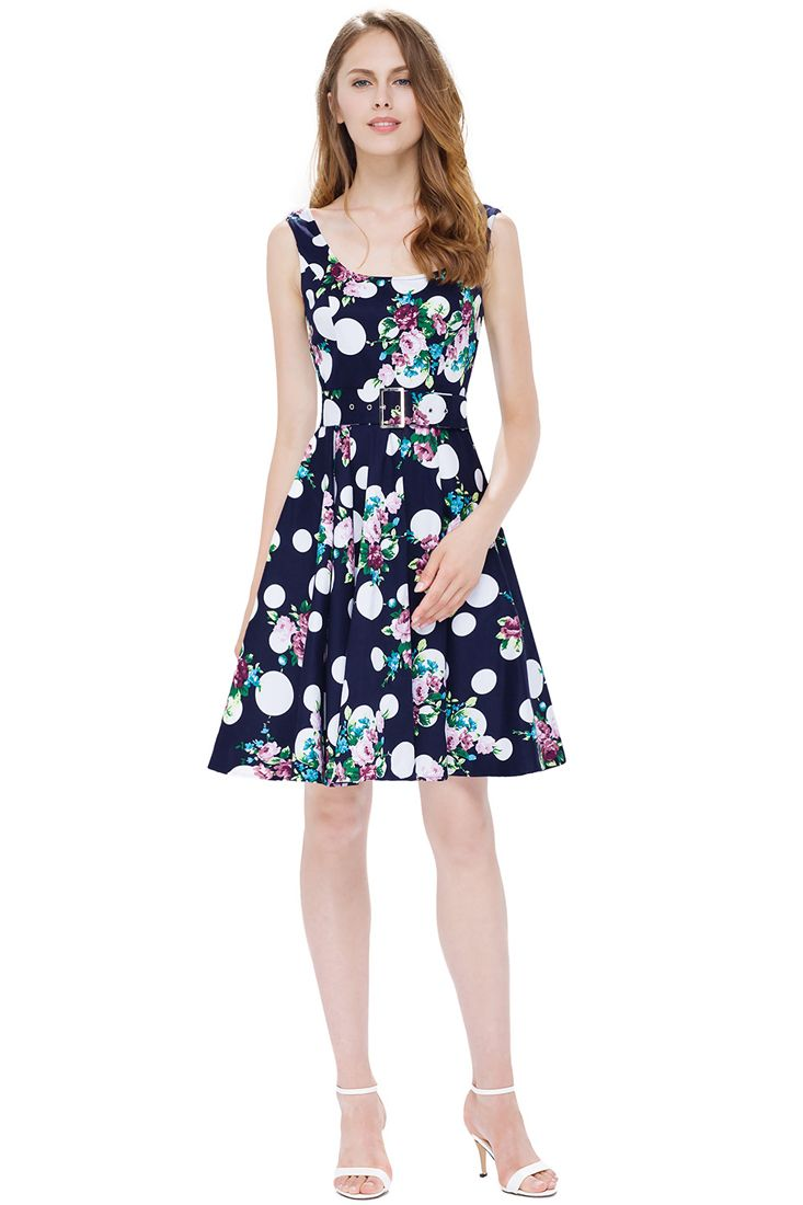 Dark Blue Floral Short Dress | Floral dresses online