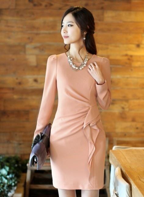 Long Sleeve Clothing Women Autumn New Style Korean Style OL Fashion Slim Pink Cotton Dress M/L/XL @WH0427p