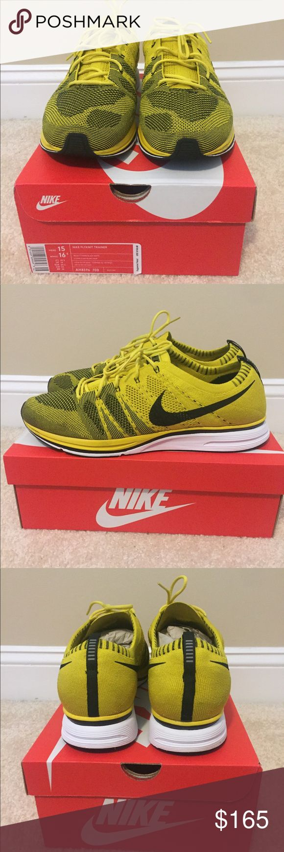 "Nike Flyknit Trainer ""Citron"" Nike Flyknit Trainer Size 15, OG Box  Worn twice, small scuff shown in photos Nike Shoes Sneakers"