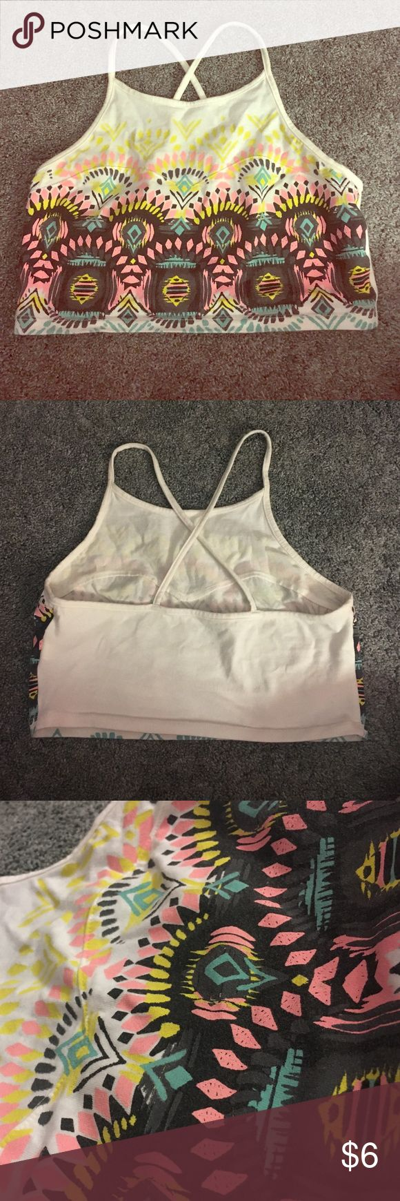 Aztec crop top! Medium! Aztec design crop top! spaghetti straps that cross in the back! Good condition! only wore once; 96% cotton, 4% spandex Mudd Tops Crop Tops