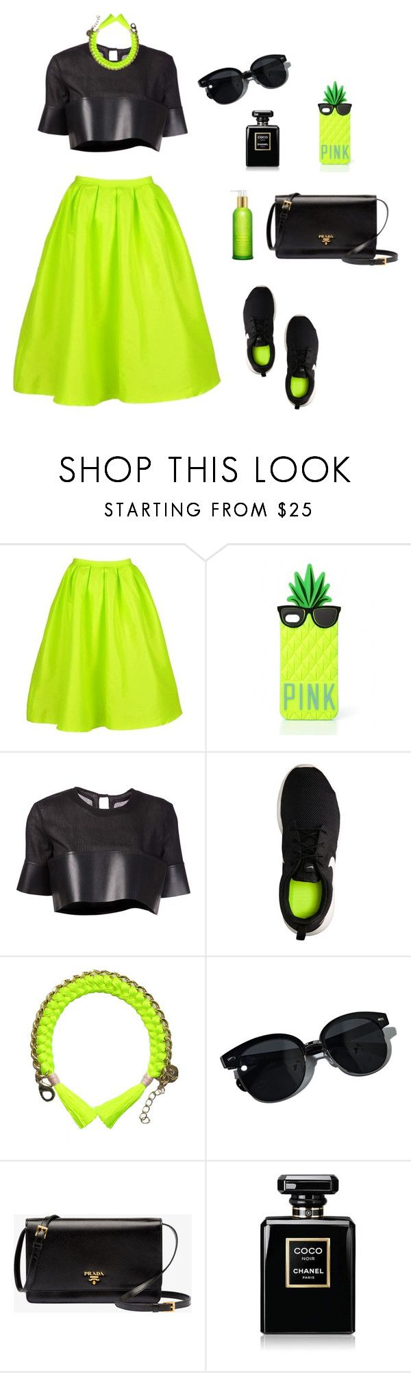 """""""L - Lime"""" by galia-ivanova ❤ liked on Polyvore featuring Victoria's Secret, Phoebe English, NIKE, Oliver Peoples, Prada, Chanel and Tata Harper"""