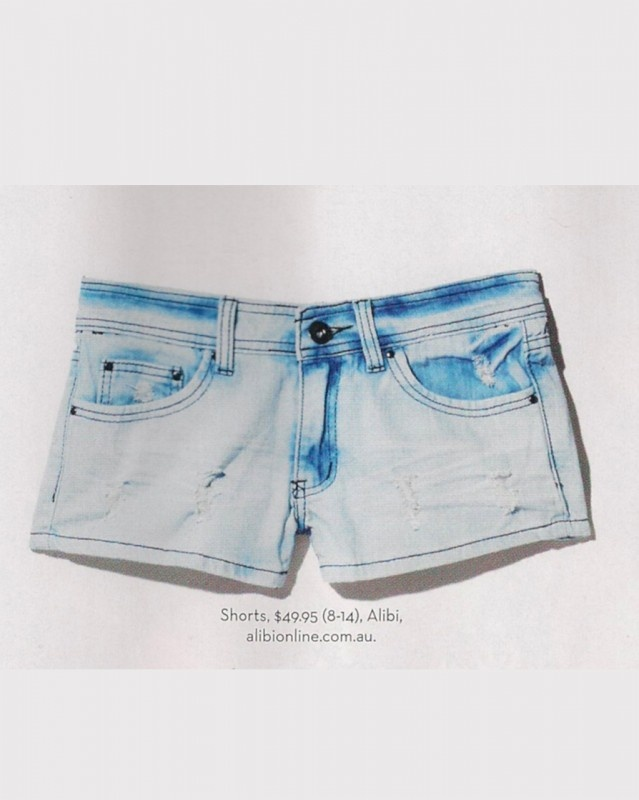 Zoe Denim Shorts by Alibi at AlibiOnline.  As seen in Oct issue.