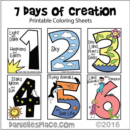 Seven Days of Creation Coloring Sheets for Younger Children