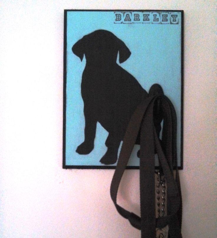 Get your dog leash off the floor--make a custom dog leash holder! #dog #leash #DIY