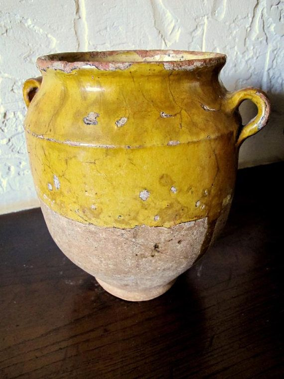 Antique French Pottery Ceramic Confit Pot c1870.     This  is my favorite Type of pottery. Very rustic  |Pinned from PinTo for iPad|