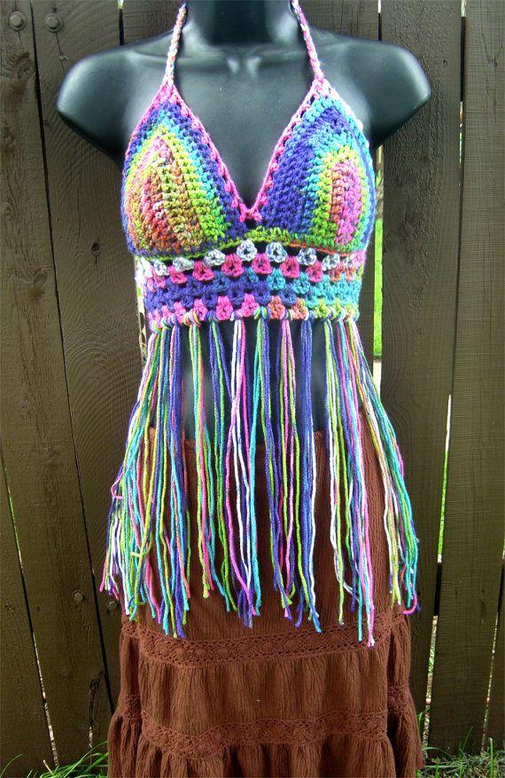 Crochet Halter Top Crochet Fringe Bikini Top Boho Top di LoveFuzz, $44.00