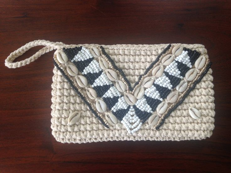 Stunning Handmade Boho Crochet Beaded Clutch by Avoka on Etsy