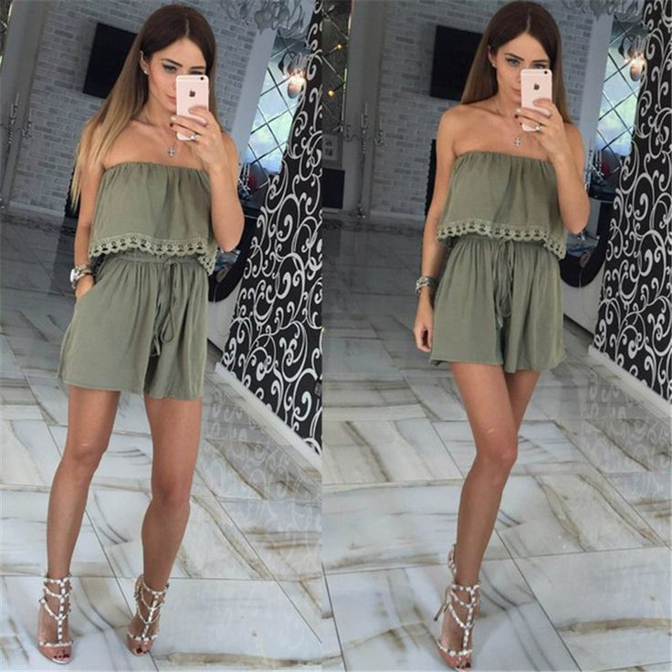 2016 Summer women Jumpsuits leisure sexy strapless chest wrapped piece shorts Fashion rompers Women jumpsuit Solid Playsuits