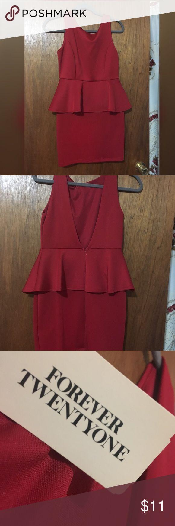 Red Peplum Dress Deep red color Deep V back Sleeveless Dress Forever 21 Dresses