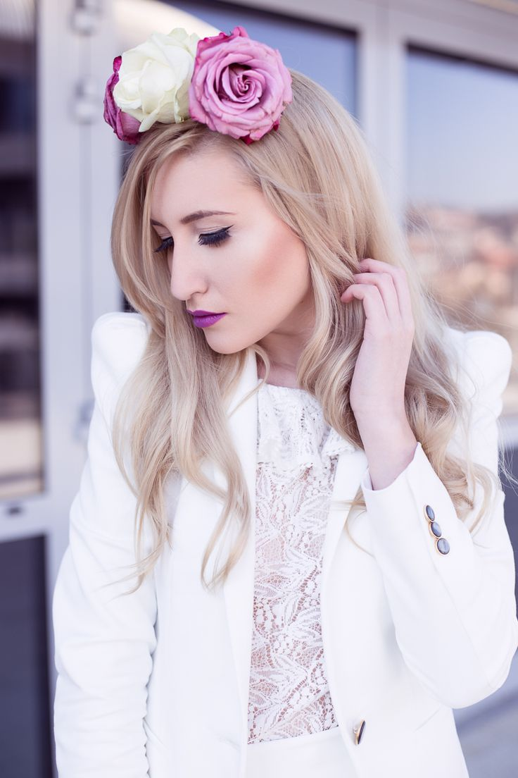 ETHEREAL WHITE | Step Into My Heels #bohemian #roses #headband #allwhite #white #suit