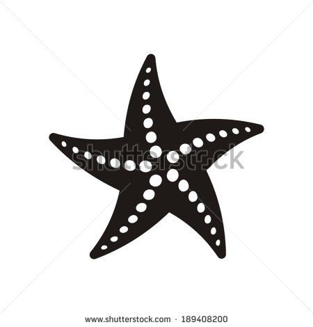 Black vector starfish icon isolated on white background - stock vector