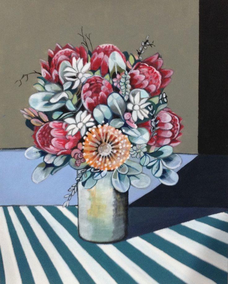 Protea vase. Acrylic. Stylised.