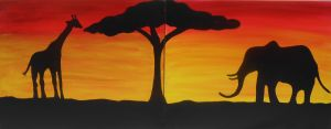 Sunset in the Savanna Great for a date night or painting with a good friend @ Pinot's Palette The Woodlands