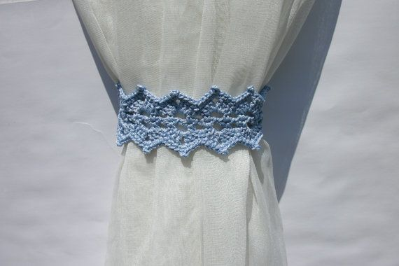 Blue curtain holdback Crochet curtain ties by CrochetedCosiness