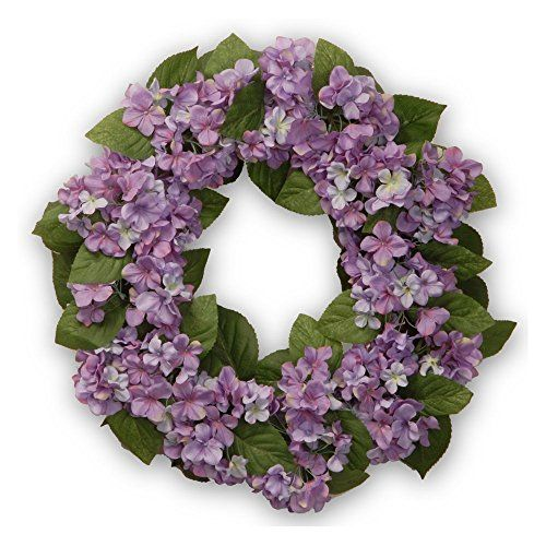 nice  24 inch diameter Burgundy hydrangea flowers and green leaves For indoor or covered outdoor display   https://www.silkyflowerstore.com/product/national-tree-company-24-in-hydrangea-wreath/