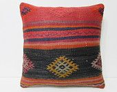 20x20 kilim pillow 20x20 orange red black decor pillow large cushion cover giant pillow cover large couch pillow 20x20 cushion cover 24028