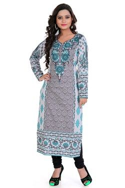 Kurtis,Admyrin,Grey and Off-white Cambric Cotton Block Printed Kurti