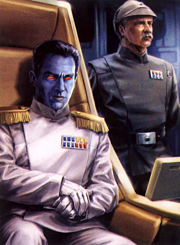 Grand Admiral Thrawn, the most interesting and capable antagonist that the Star Wars EU has ever produced. His campaign brought the New Republic to its knees before he was killed by his bodyguard. At his side is Captain Pellaeon, his protégé, who would go on to command the Empire years later and end the war with the New Republic, even siding with them against the Vong invasion.