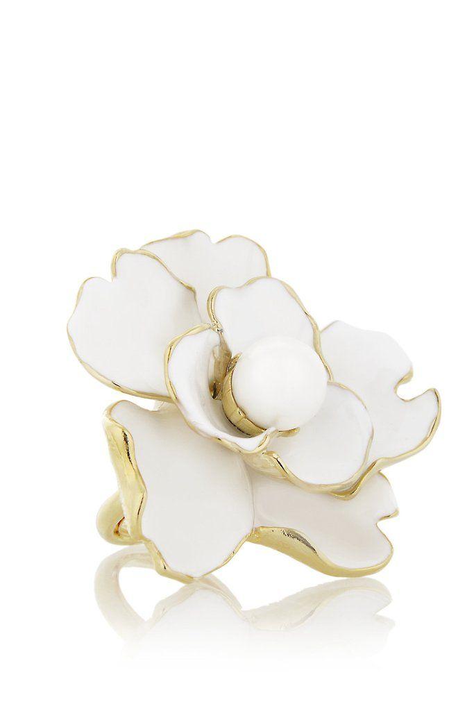 KENNETH JAY LANE CAMELIA Λευκό Δακτυλίδι Λουλούδι