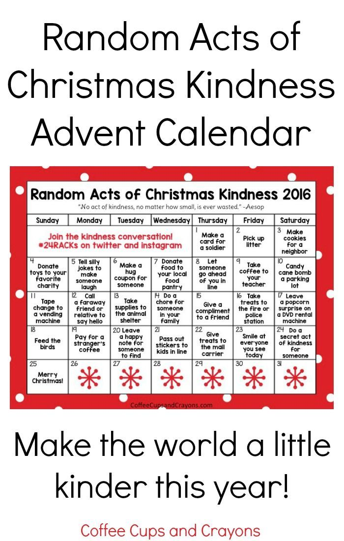 2016 Random Acts of Christmas Kindness printable printable advent calendar. Download and make the world a little kinder this holiday season.