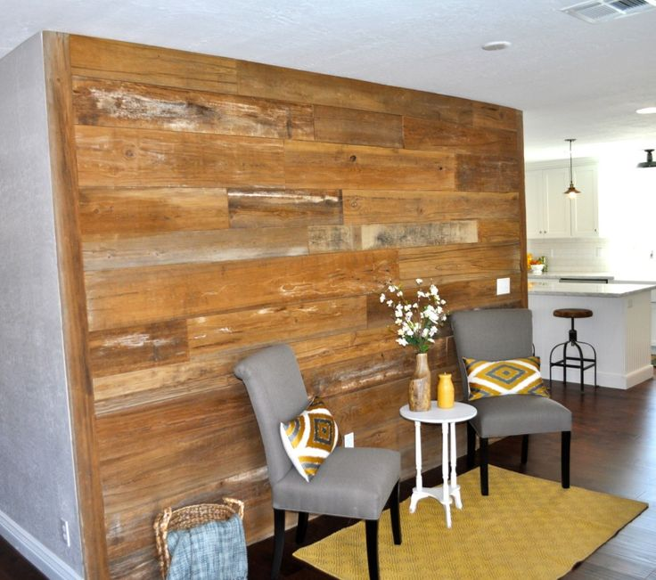 A Reclaimed Wood Accent Wall Is A Must Living Room