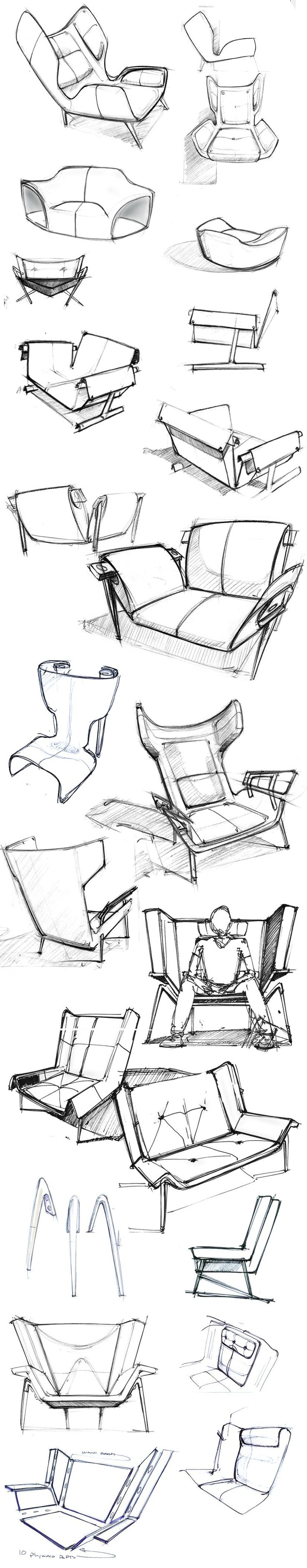 sketches of the Deca Lounge Chair by Larry Parker