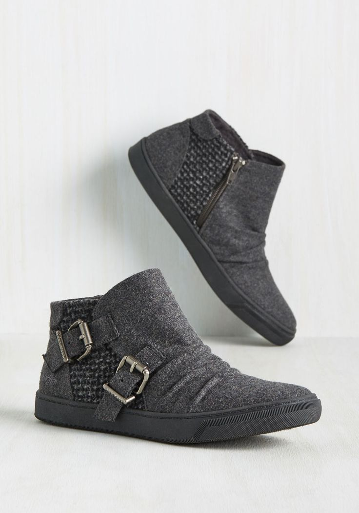Stage Hands on Deck Bootie by Blowfish - Grey, Solid, Buckles, Ruching, Casual, Lounge, Urban, Better, Ankle, Grey, Black, Flat, Woven