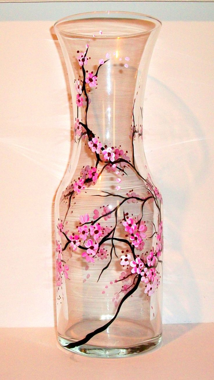 Hand Painted Wine Carafe Cherry Blossom Fall Leaves Peacock Feather Shamrock 4 Leaf Clover Handpainted Decanter Glassware Bar-ware Custom