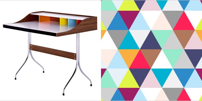 George Nelson desk from Utility with Geometric Triangles Wallpaper from Murals Wallpaper