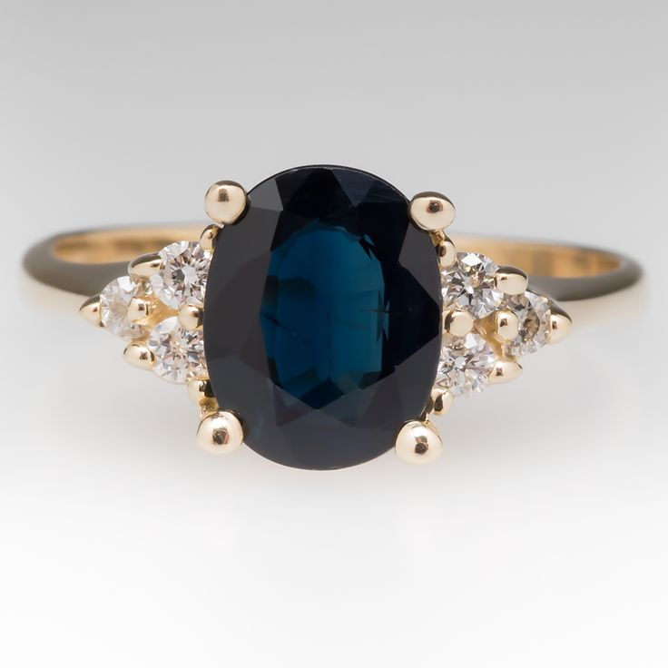 crying, so freakiing gorgous 1.8 Carat Dark Blue Sapphire & Diamond Ring 14K Gold