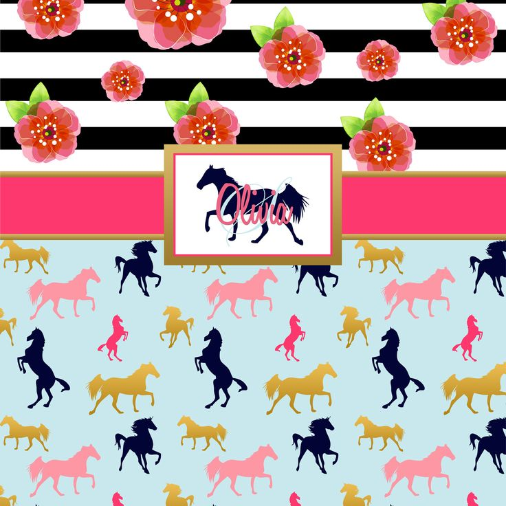 Kids Horse Bedding, Striped Floral Pony Bedding. Pink, Blue, & Black