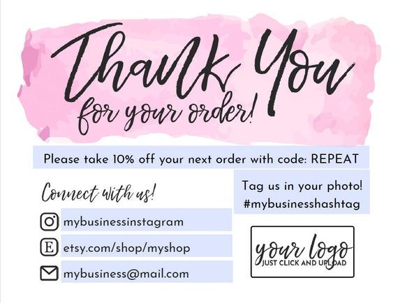Instant Download Editable And Printable Thank You Card For Small Business With Your Logo Poshmark Thank You For Your Order Etsy Note Printable Thank You Cards Business Thank You