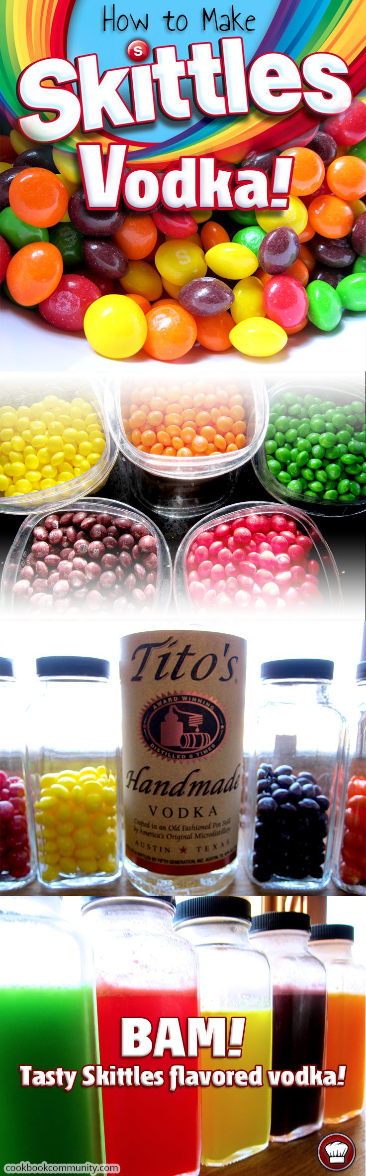 SKITTLES INFUSED VODKA - Learn how to make your own Skittles flavored vodka with this easy recipe. Photos and Instructions inside!